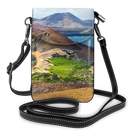 Bolso ligero del teléfono celular de la PU, vista de dos playas pequeñas Crossbody Bolsos de hombro cartera Pounch bolso para las mujeres, color Negro, talla Talla única