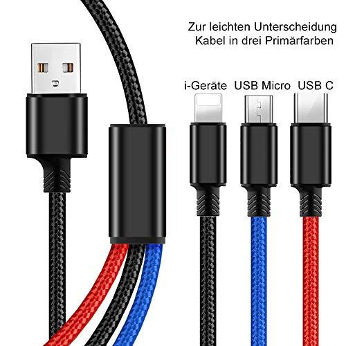 OptionTec - Ladeadapter mit Schnellladung - 2 Stück Multi Ladekabel 3 in 1 länge 1,2 Meter, 3 Farben zur einfachen Erkennung - Händy, Tablet usw. Adapter mit 3 USB Anschlüssen