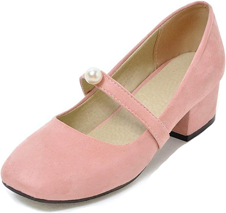 Unm Women's Vintage Low Cut Square Toe Dress Slip On Block Medium Heels Mary-Jane Pumps shoes