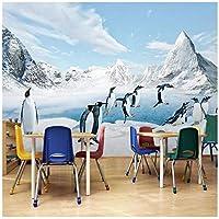 Wkxzz 壁の背景装飾画 カスタム写真壁紙ペンギン雪山ポスター壁画リビングルームの寝室の壁の装飾絵画-400X280Cm