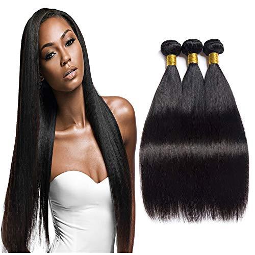 NEWFB Lot de 3 mèches, extensions de cheveux, tissées, 100 % cheveux humains brésiliens vierges non traités, lisses, couleur naturelle, qualité 7A, 35,5/40,6/45,7 cm