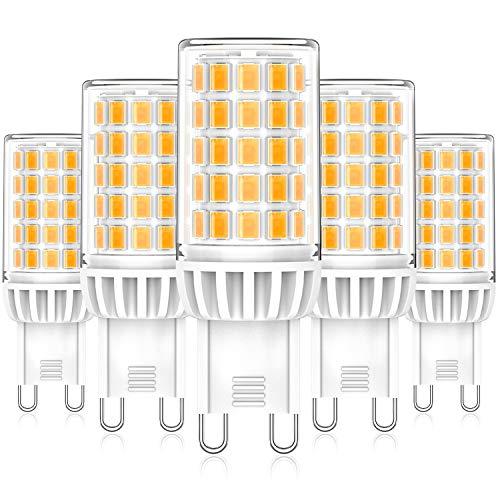Eco.Luma G9 LED Lampen, 6W 550LM Warmweiß 2700K Leuchtmittel Glühbirnen, Ersatz für 50W 60W Halogenlampen, Kein Flackern 360°Abstrahlwinkel LED G9 Mais Birne, Nicht Dimmbar AC 220-240V, 5er Pack