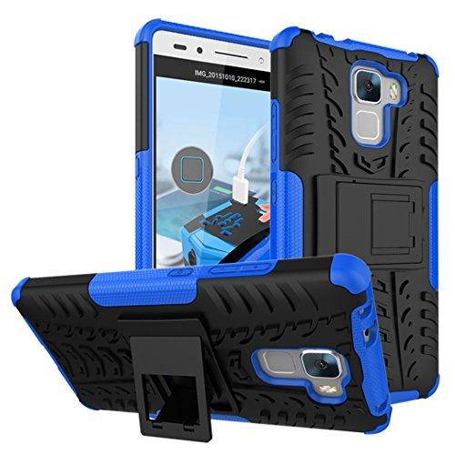 Honor 7 Funda, FoneExpert® Heavy Duty silicona híbrida con soporte Cáscara de Cubierta Protectora de Doble Capa Funda Caso para Huawei Honor 7 (Azul)