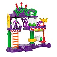 Create villainous adventures with The Joker at the Laff Factoryplayset Turn Power Pad to spin the dunk tank fishand ride the rocket around Turn Power Pad to launch the missiles (Includes 3 projectiles) Place The Joker figure on the elevatorand...
