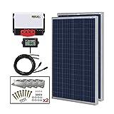 HQST 200 Watt 12 Volt Polycrystalline Solar Panel Kit with 20A 12/24V MPPT Solar Charge Controller,...