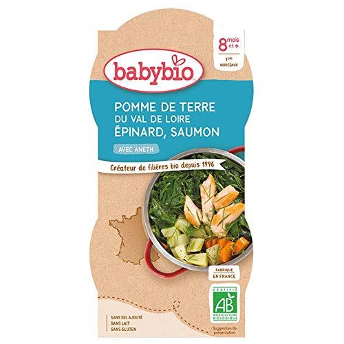 Babybio - Bols Pomme de Terre du Val de Loire Epinard Saumon à l'Aneth 2x200g - 8+ Mois - BIO