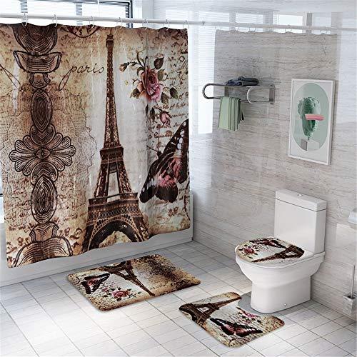 Morbuy Juego de 4 Piezas de Alfombra de baño Antideslizante + Tapa de Inodoro + Alfombrilla de baño + Cortina de Ducha, Torre Eiffel (Patrón A)