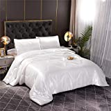 A Nice Night Satin Silky Soft Quilt Sexy Luxury Super Soft Microfiber Bedding Comforter Set Full/Queen, Light Weighted (White, Queen(88-by-88-inches))