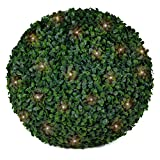 "3rd Street Inn Boxwood Lighted Topiary Ball - 15"" Artificial Pre-Lit Christmas Topiary Plant - Indoor/Outdoor Decorative Light Plant Ball - Wedding and Holiday Decor (1-Pack)"