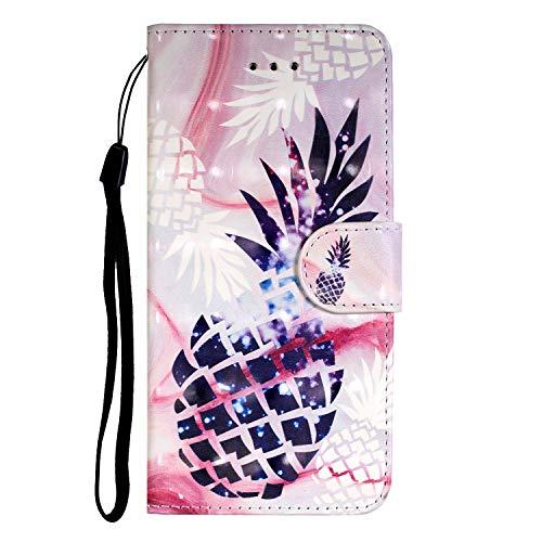 FNBK Kompatibel mit Samsung Galaxy A51 Hülle, 3D Leder Gemalt Handyhülle Case Flip Wallet Leder Tasche Cover, Klappbar Schutzhülle Kartenfach Holster,Ananas