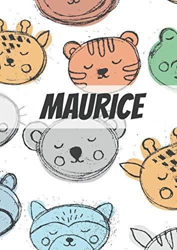 Maurice: GROßER MALBLOCK • DIN A4 • Blanko 100 Seiten • Personalisiertes Malbuch • Kalender mit Name  • Vornamen Notizbuch • Notizblock Zootiere • Tiere Kinderbuch • Jugendbuch • Namensbuch
