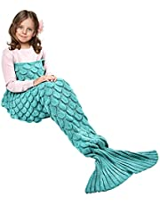 eCrazyBaby Hecho a Mano de Punto Manta de Cola de Sirena, Todas Las Estaciones cálido sofá Cama Sala de Estar Manta para niños, Patrón de Fish-Escalas, 140 x 70 cm, Verde