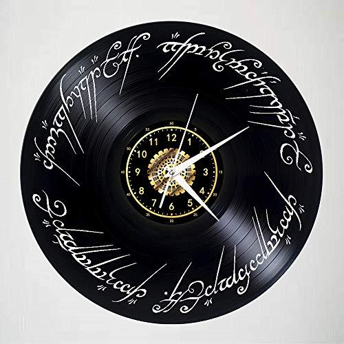 Seigneur des Anneaux Vinyle Record Horloge Murale LED Lumineux Nostalgique Silhouette Record À La Main Art Chambre Décor Cadeau avec LED Lumière 12 Pouces