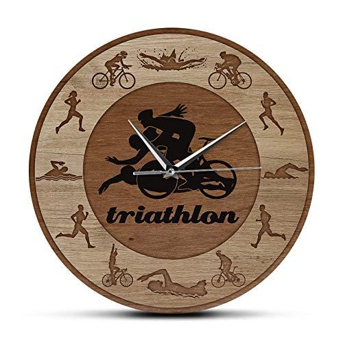 sufengshop Triatlón Siluetas Textura de Madera impresión acrílica Reloj de Pared natación Ciclismo Correr Deportes decoración del hogar Reloj triatletas Regalo