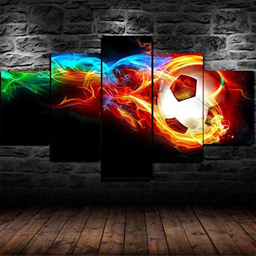 IMXBTQA Cuadro En Lienzo, Imagen Impresión, Pintura Decoración, Cuadro Moderno En Lienzo 5 Piezas XXL,125X60Cm,Balón De Fútbol Colorido Murales Pared Hogar Decor