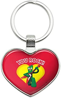 Gumby with Guitar You Rock Heart Heart Love Metal Keychain Key Chain Ring