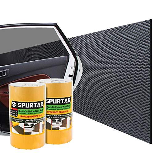 """Spurtar Garagen Wandschutz (2er Pack je 2m Lag) - Extra Stoßfest & Selbstklebend - Türkantenschutz Auto\""""Schwarz\"""" + Wasserabweisende Oberfläche"""