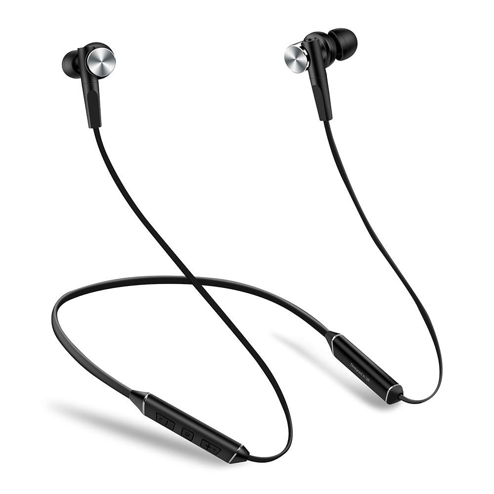 Ant Audio Wave Sports 535 Bluetooth Wireless Neckband Earphone with Mic, Noise Cancelling, 10 Hours Playtime, Hi-fi Stereo, Magnetic – Black Silver