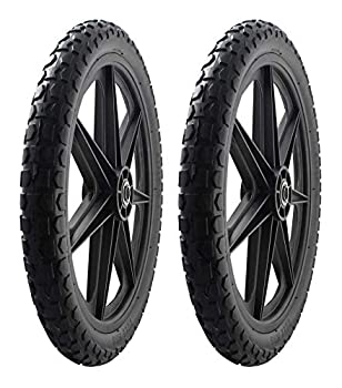 2 PACK -Marathon 92010 Flat Free 20  Replacement Tire Assembly for Rubbermaid Big Wheel Carts Black