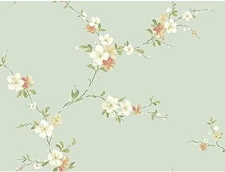 Wallpaper Designer Floral Pink Peach White Tan Blossom Trail on Pale Blue