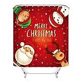 Hankyky 4 STK. Frohe Weihnachten Dusche Vorhang Sets mit Rutsch Teppich, Toilette Deckel Abdeckung & Bad Matte, Santa Reindeer Schneemänner Duschvorhang mit 12 Haken für
