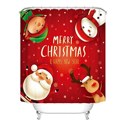 Red Christmas Shower Curtain - Rudolph Santa Claus Snowman Dwarf Custom Bathroom Decor - Waterproof Shower Curtain, Christmas Bathroom Decorations with 12 Hooks, 71x71in