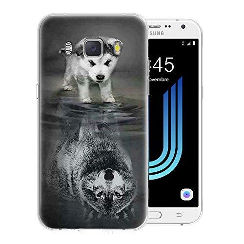 Pnakqil Samsung Galaxy J5 2016 Cover Trasparente, Premium Custodia Silicone con Disegni Leggero Ultra Sottile TPU Morbido Antiurto 3d Pattern Bumper Case per Samsung Galaxy J5 2016, Cane Lupo