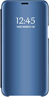 Case Compatible Samsung Galaxy A50 A30 Case Clear View Mirror Flip Folio with Stand Shockproof Protective Cover for Samsung Galaxy A10 (Blue, Samsung Galaxy A50)
