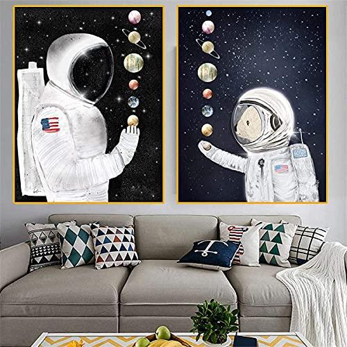 HHLSS tryck för väggar 2 delar 50 x 70 cm (19,7 x 27,6 tum) ingen ram astronaut rymd gräns målning homesick rymd växt graffiti modern gatukonst dekor
