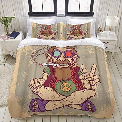 Funda nórdica, Verde Retro Old Hippie Fuma Marihuana, Juego de Cama, Ultra cómodo, Ligero, de Lujo, de Microfibra (3 Piezas)