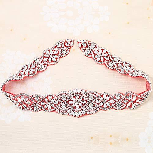 Crystal Applique for DIY Wedding Dress Bridal Rhinestone- Accessories (Silver+Red Back)