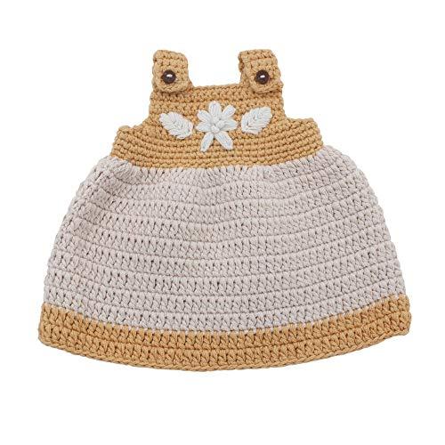 Sebra - Puppenkleid - 100% Baumwolle - gehäkelt - golden Yellow - für Puppen von 40cm Größe