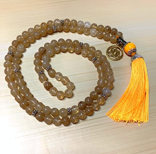 Japamala Citrino Claro 108 Contas Colar Meditação