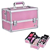 Joligrace Makeup Box Train Case - Professional 13.5 Inch Portable Aluminum Cosmetic Organizer Storage Box with 4 Adjustable Dividers Trays, 2 Locks and Shoulder Strap - Holographic Pink