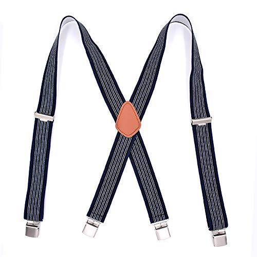 Yuyudou duurzame bretels voor heren, 1,37 inch brede Classic X-ruggordel, verstelbare bretels met sterke metalen klemmen