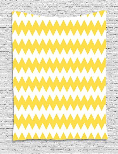 ABAKUHAUS Chevron Amarillo Tapiz de Pared, Antiguo Adorno De Sharp, para el Dormitorio Apto Lavadora y Secadora Estampado Digital, 100 x 150 cm, Tierra Blanco Amarillo