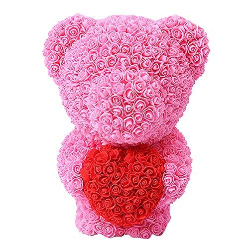 TOPmountain Stehender Rosenbär, künstlicher Rosen-Teddybär romantische Rosen-Puppen-simulative Blumen für Jubiläum Valentines Wedding - rosa stehender Bär