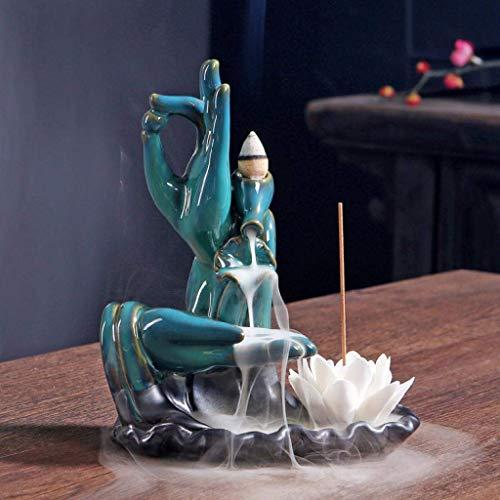 XJJZS Quemador de Incienso de cerámica-cerámica bergamota Titular Esmalte Quemador de Incienso de sándalo Budista Conos de Reflujo incensario artesanía (Color : Blue)