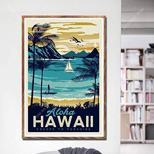 Yyoutop Art Deco American Country Retro Viaje Paisaje Urbano Paisaje Arte Lienzo Pintura Póster 50x70cm noframe