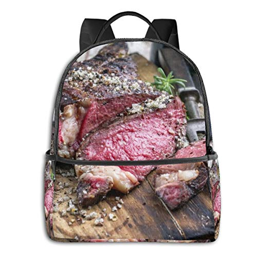Buffalo Brown American Barbecue Trockenes Alter Wagyu Tomahawk Steak Board Essen Trinken Rindfleisch Red Angus Australischer Grill Kind Mädchen Jungen Süße Muster Gedruckte Rucksack Schultasche