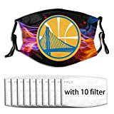 G-III Sports UV Protection Reusable Mouth Guard Activated Carbon Filters, Golden State Warriors Smoke Respirator Protection Cover for Motorcycle Travel - Adjustable Ear Loops