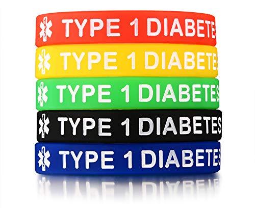 Rinspyre 5 Pack - Type 1 Diabetes Bracelet for Men Women Silicone Medical Alert ID Wristbands 7.5'