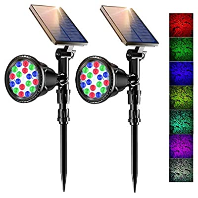 Solar Spotlight Outdoor, Waterproof 18 LED Color Cycles & 7 Fixed Colour Landscape Lights, Auto On/Off Adjustable 2-in-1 RGB Solar LED Landscape Spotlights for Patio Yard Garden Driveway (2 Pack)