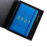 Hengqiyuan 2021 Schedule Prenota 365 Giorni Piano di Giorno Taccuino Notebook Squisito Blocco Note Tempo Gestione del Calendario del Calendario dell'efficienza,Blu