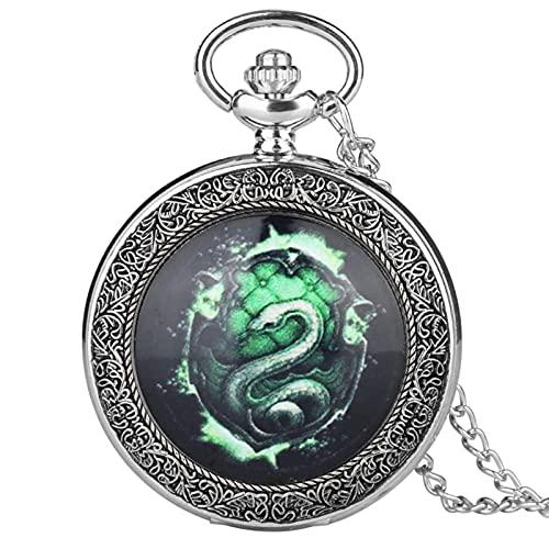 DIHAO Reloj de Bolsillo de Cuarzo analógico con Serpiente Verde Fluorescente, Collar con Colgante analógico, Cadena