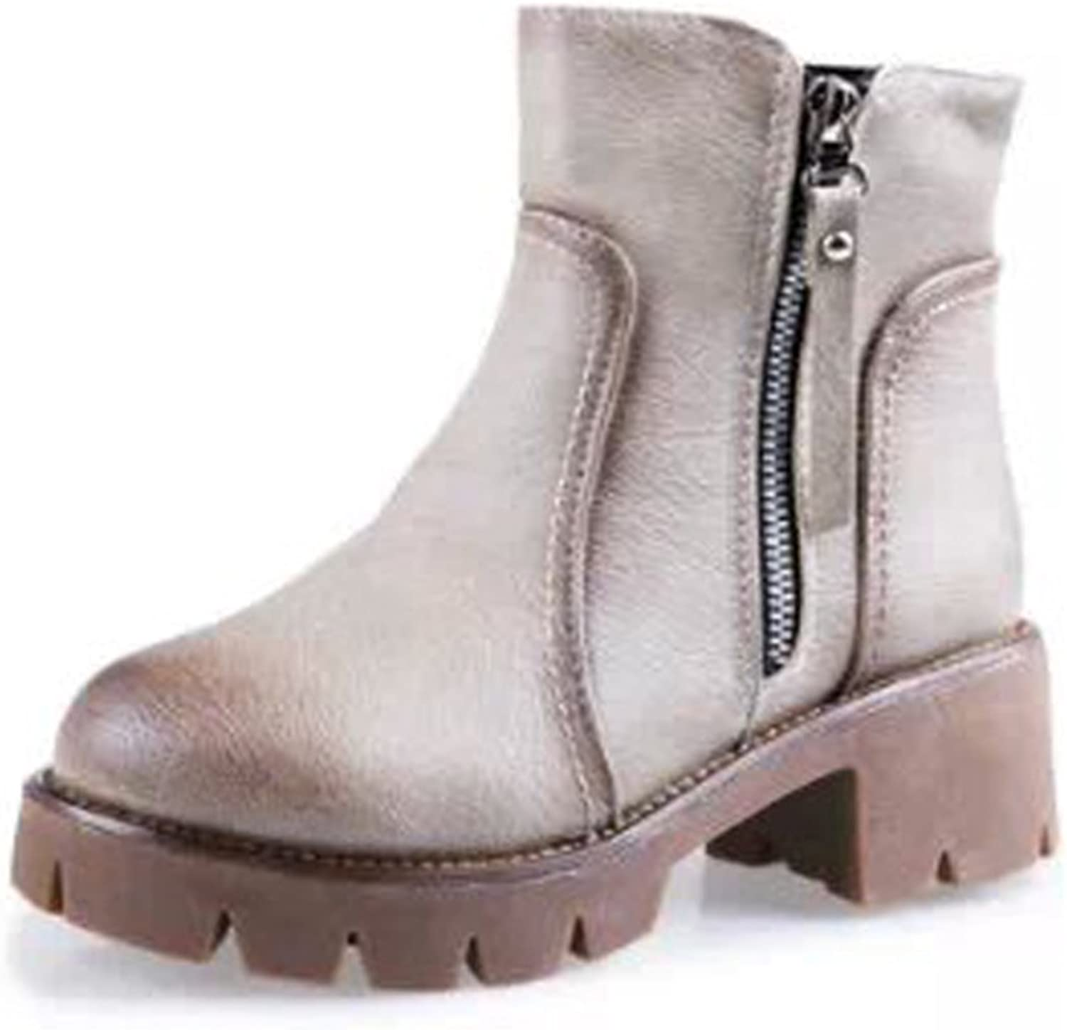 RHFDVGDS High Heel Ladies Ankle Boots in Autumn and Winter Short Tube Platform Martin Boots