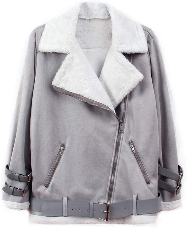 Ultrafun Women Faux Suede Moto Jacket Casual Lapel Fleece Shearling Outwear Coat