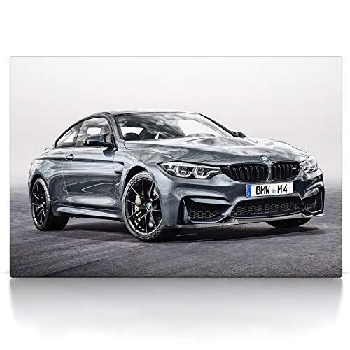 Leinwandbild M4 Coupe - Leinwand Bild auf Keilrahmen - Wandbild Auto kompatibel mit BMW M4 Coupe (80 x 60 cm, Leinwand auf Keilrahmen)