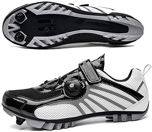 KUXUAN Zapatillas De Ciclismo MTB SPD para Hombres Y Mujeres - Ideales para Bicicletas De Montaña Bicicletas De Ciclocross XC Incluidas,BlackWhite-45EU