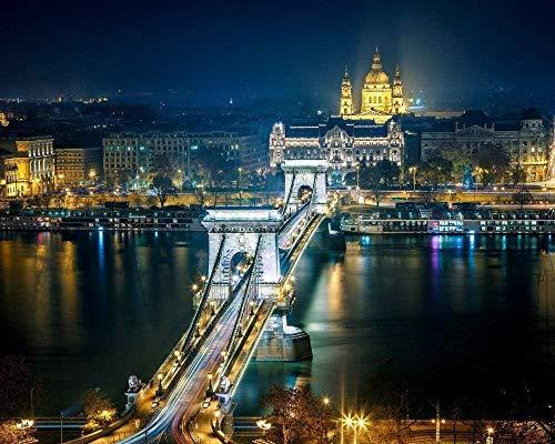 Fwsaot Jigsaw Puzzle Rompecabezas De 1000 Piezas para Adultos, Puente De Cadena Szechenyi Budapest, Decoración De Madera para El Hogar, Juego Educativo De Juguete